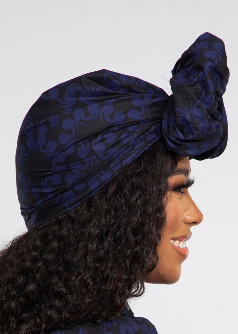 African Print Head Wrap/Scarf (Blue Black Flowers)