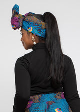 African Print Head Wrap/Scarf (Blue Pink Peacock)
