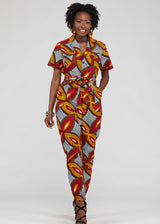 Hekima African Print Button-up Jumpsuit (Red Gold Leaves)