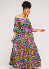 Hiari African Print Tiered Maxi Dress (Purple Turquoise Kente)
