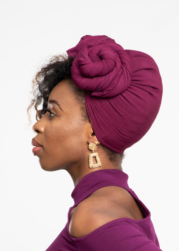 Tiara Rib Knit Head Wrap (Plum)