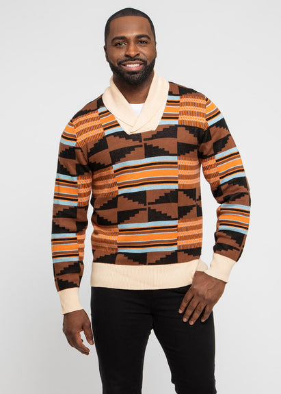 Iferan Men's African Print Pull-Over (Brown Orange Kente)