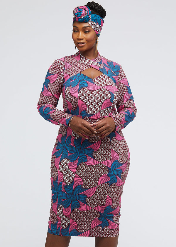 Imole African Print Cut-Out Dress (Pink Teal Pinwheels) - Clearance
