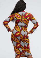 Imole African Print Cut-Out Dress (Red Gold Leaves)