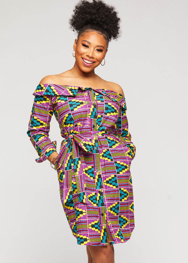 Indusa African Print Button-Up Shirt Dress (Purple Turquoise Kente) - Clearance
