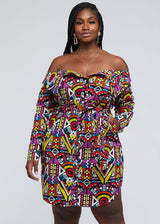 Indusa African Print Button-Up Shirt Dress (Yellow Purple Tribal)