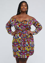 Indusa African Print Button-Up Shirt Dress (Yellow Purple Tribal) - Clearance