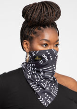 Isabis African Print Bandana Face Mask (Black White Mudcloth)