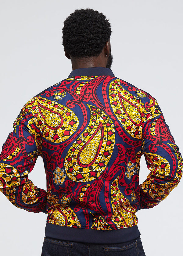 Ise African Print Reversible Bomber Jacket (Navy/Navy Gold Paisley)