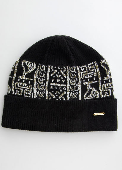 Isimi African Print Color-Block Knit Hat (Black/Black White Tribal) - Clearance