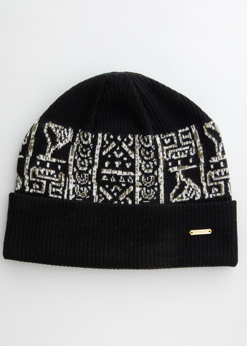 Isimi African Print Color-Block Knit Hat (Black/Black White Tribal)