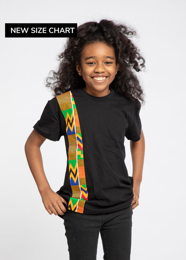 Isuni Kid's Color-Block Appliqué T-Shirt (Black/Green Yellow Kente)