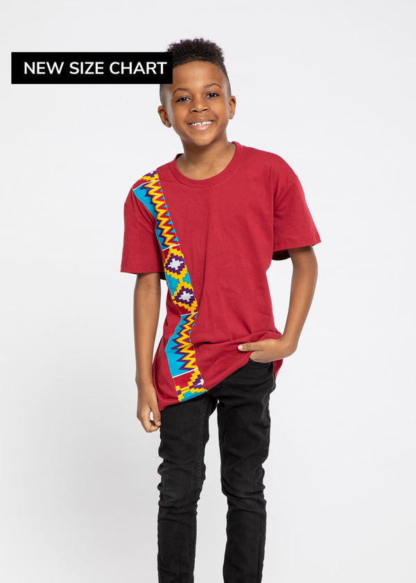 Isuni Kid's Color-Block Appliqué T-Shirt (Maroon/Sky Blue Yellow Kente)