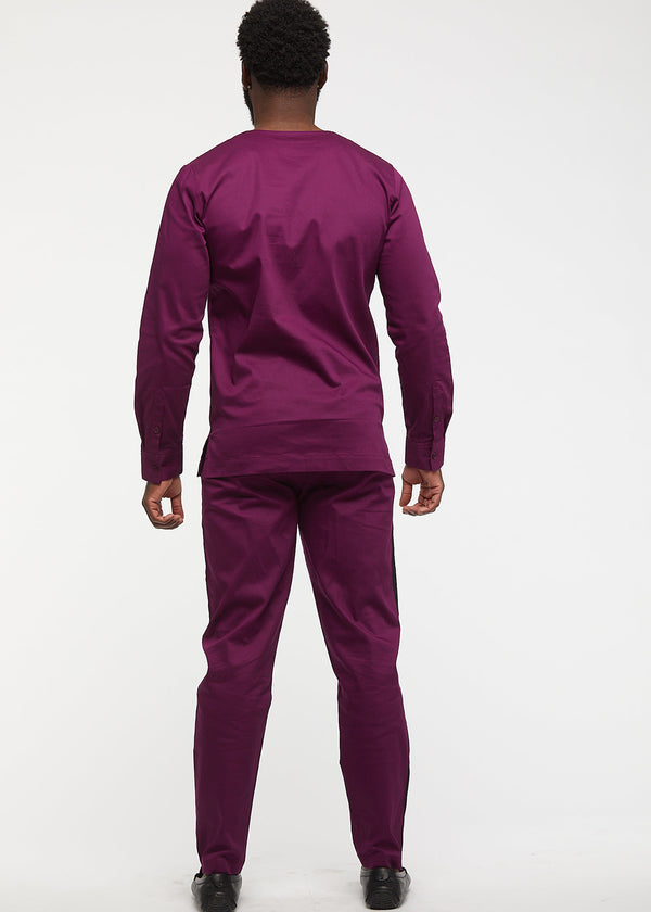 Masamba Men's Traditional Pant With Drawstring (Plum/Black)