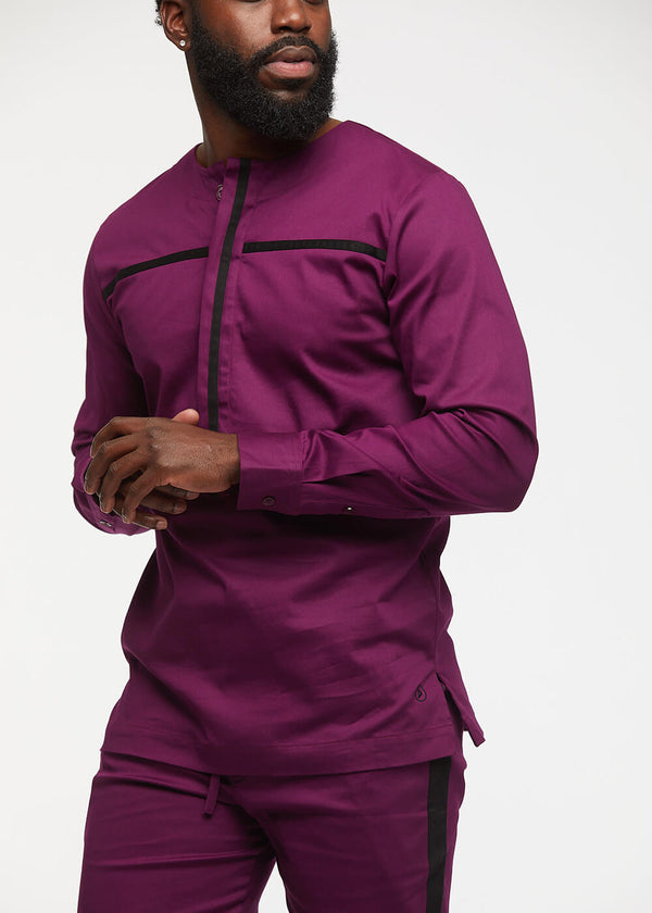 Itoro Men's Long Sleeve Traditional Top (Plum/Black)