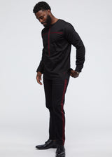 Itoro Men's Long Sleeve Traditional Top (Black/Maroon)