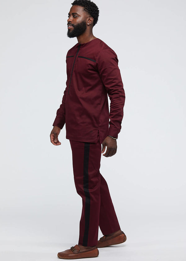 Masamba Men's Traditional Pant With Drawstring (Maroon/Black)