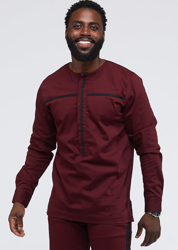 Itoro Men's Long Sleeve Traditional Top (Maroon/Black)