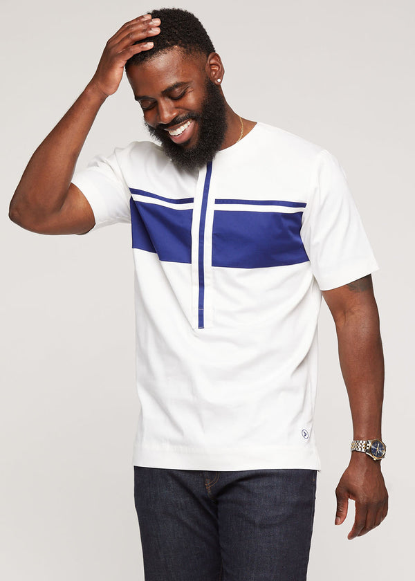 Kadir Traditional African Short Sleeve Top (White/Navy)
