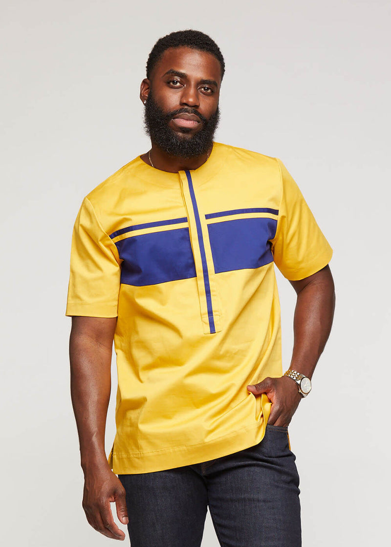 Kadir Traditional African Short Sleeve Top (Gold/Navy)- Clearance