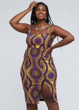 Kaweria African Print Fitted Stretch Sweetheart Dress ( Gold Purple Circles)