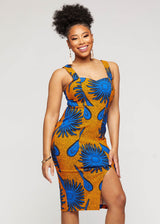 Kaweria African Print Fitted Stretch Sweetheart Dress (Gold Royal Blue Flowers)- Clearance