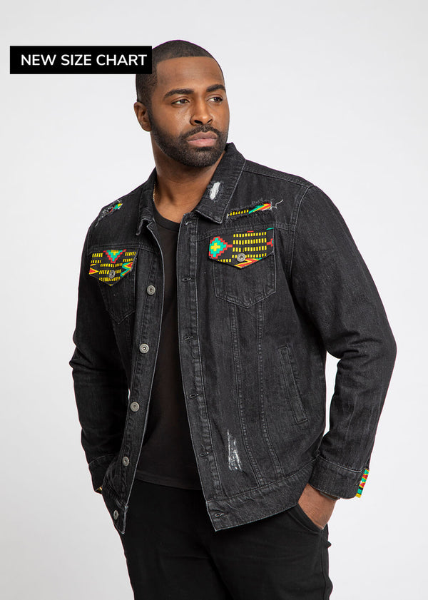 Kele African Print Unisex Denim Jacket with Africa Patch (Black Green Kente)