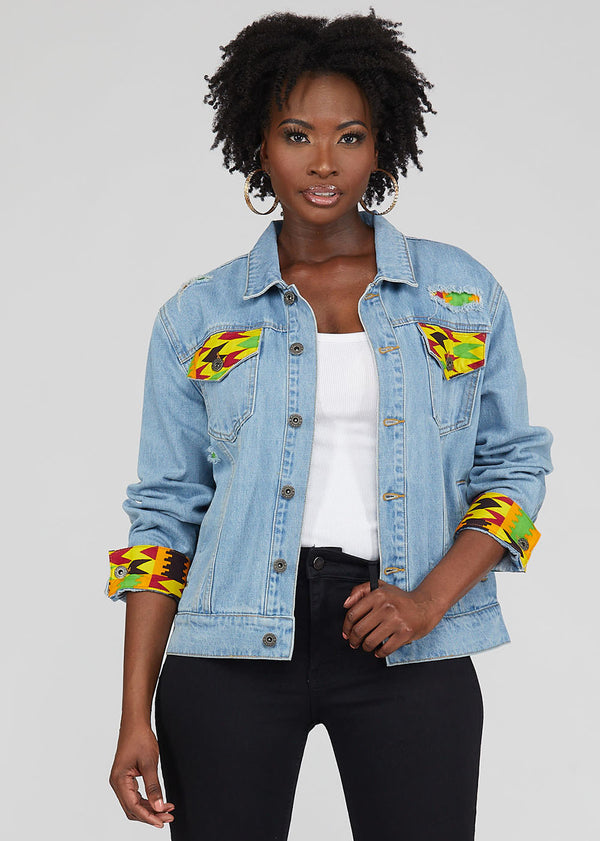 Kele African Print Unisex Denim Jacket with Africa Patch (Gold Maroon Kente)