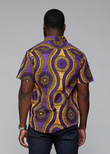 Keyon African Print Button-Up Shirt (Gold Purple Circles) - Clearance