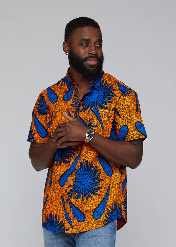 Keyon African Print Button-Up Shirt (Gold Royal Blue Flowers) - Clearance