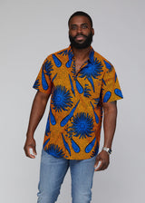 Keyon African Print Button-Up Shirt (Gold Royal Blue Flowers)