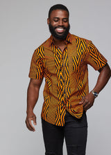 Keyon African Print Button-Up Shirt (Orange Navy Diamonds) - Clearance