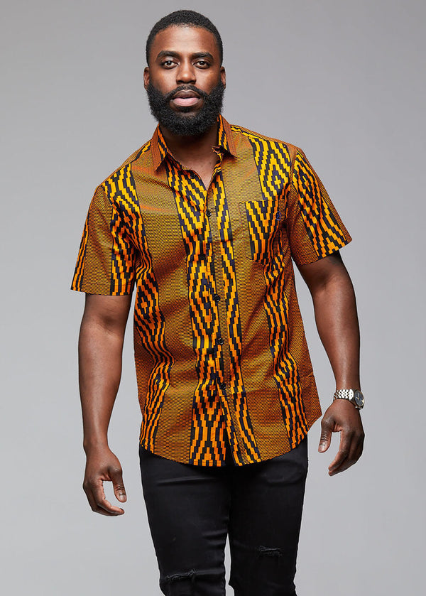 Keyon African Print Button-Up Shirt (Orange Navy Diamonds)
