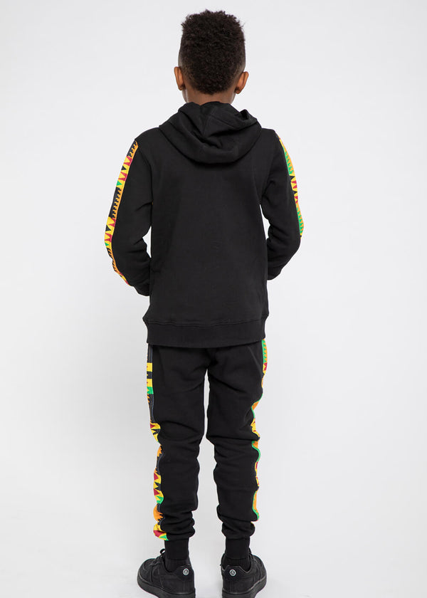 Iyara African Print Kid's Color Blocked Jogger (Black/Gold Maroon Kente)