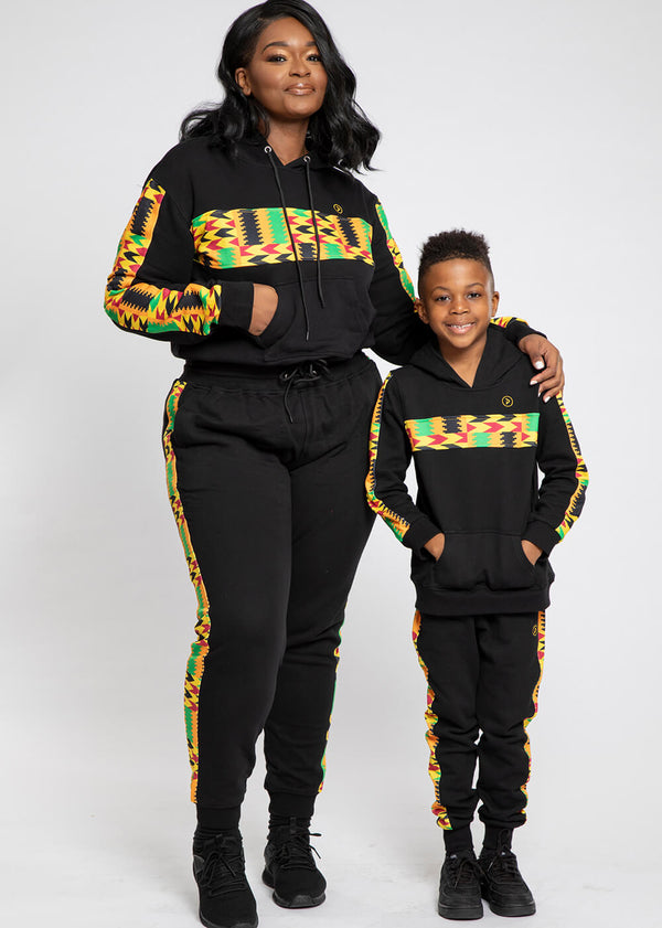 Elere African Print Kid's Color Blocked Hoodie (Black/Gold Maroon Kente)