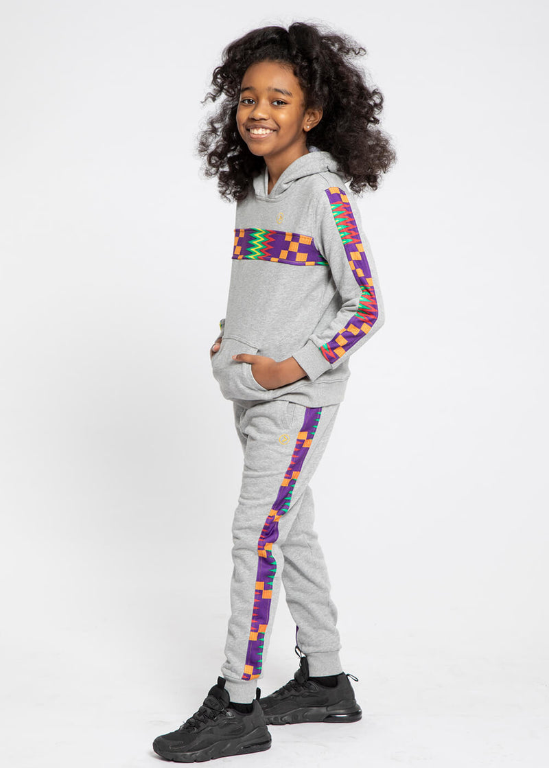 Elere African Print Kid's Color Blocked Hoodie (Heather Grey/Purple Green Kente)