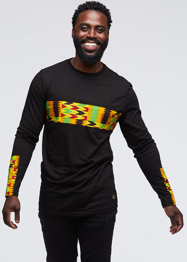 Limbani African Print Color-Blocked Long Sleeve T-Shirt (Black/Gold Maroon Kente) - Clearance