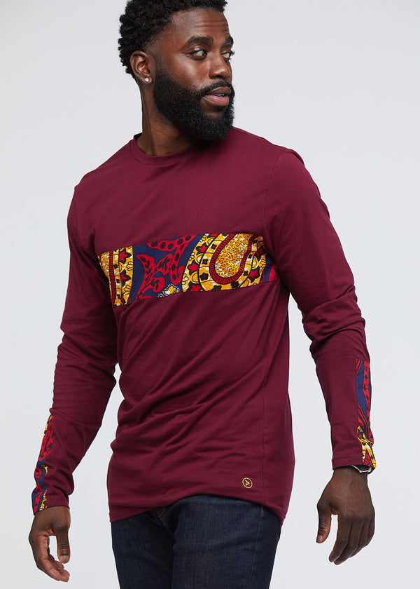 Limbani African Print Color-Blocked Long Sleeve T-Shirt (Maroon/Navy Gold Paisley)