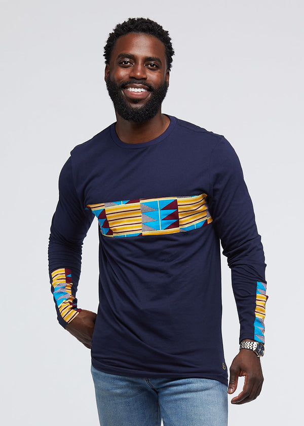 Limbani African Print Color-Blocked Long Sleeve T-Shirt (Navy/Tan Blue Kente) - Clearance