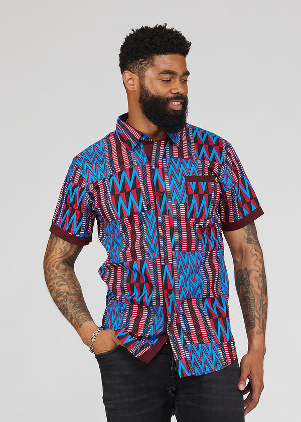 Deion African Print Short Sleeve Button-Up (Magenta Blue Kente)