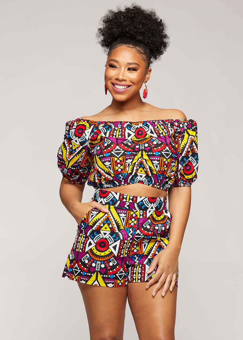 Mandere African Single Strap Crop Top ( Yellow Purple Tribal) - Clearance