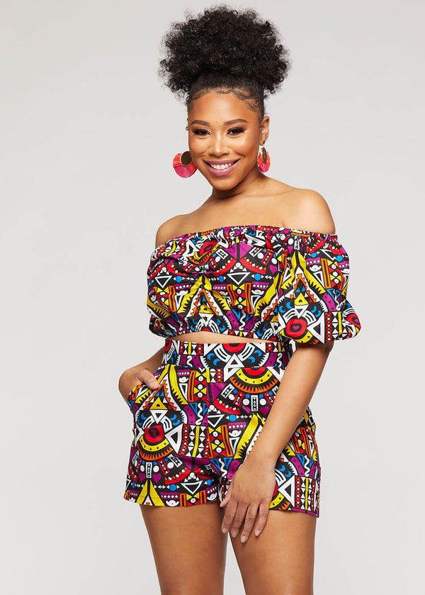 Almasi African Print High-Waisted Shorts (Yellow Purple Tribal)