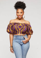 Mandere African Print Crop Top ( Gold Purple Circles)