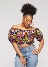 Mandere African Single Strap Crop Top ( Yellow Purple Tribal)
