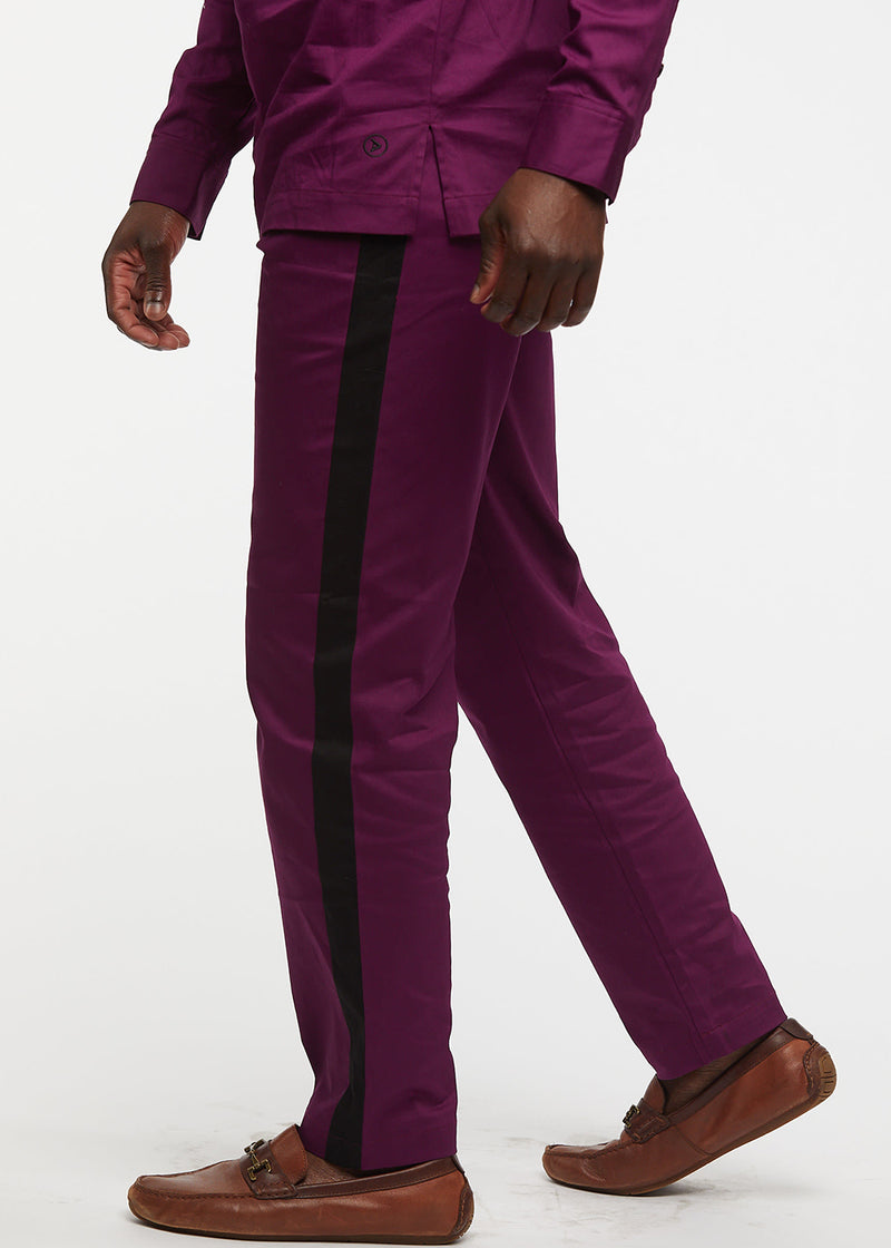 Masamba Men's Traditional Pant With Drawstring (Plum/Black) - Clearance