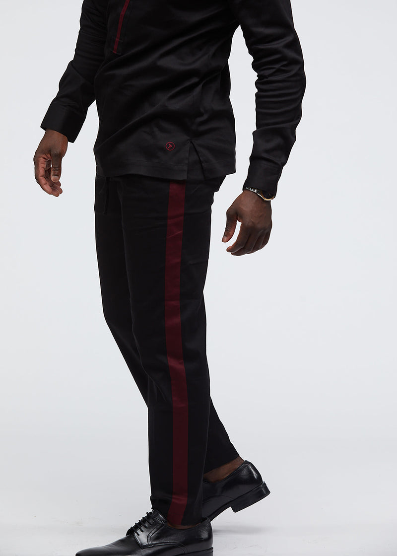 Masamba Men's Traditional Pant With Drawstring (Black/Maroon)