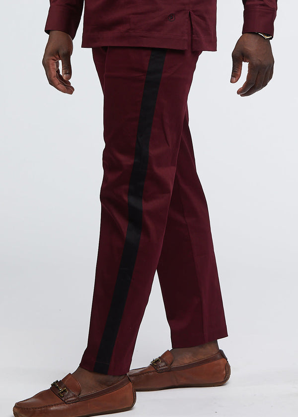 Masamba Men's Traditional Pant With Drawstring (Maroon/Black) - Clearance