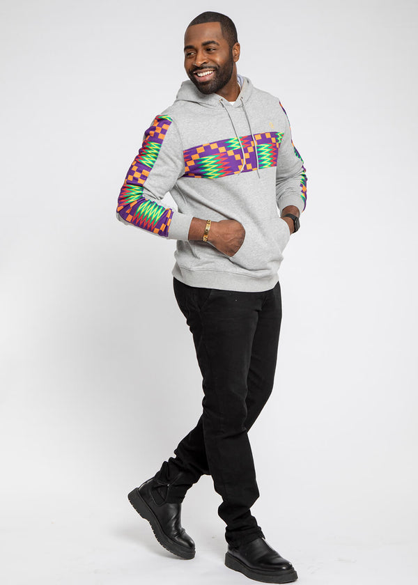 Ibesi African Print Unisex Color Blocked Hoodie (Heather Grey/Purple Green Kente)