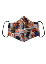 Dabo African Print 2 Layer Reusable Face Mask (Navy Orange Sunrise)
