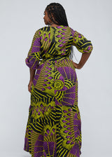 Naenia African Print Tiered V-neck Maxi Dress (Purple Yellow Fans) - Clearance